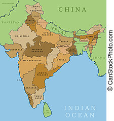 India states - India map. Outline illustration country map...