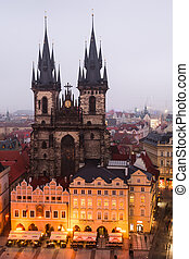 Stare Mesto Square in Prague with Tyn Church.