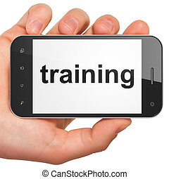 Education concept: smartphone with Training