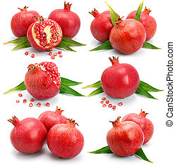 Set os pomegranate fruits with green leaf and cuts isolated...
