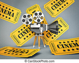 cinema - yellow film ticket and retro camera
