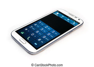 Smart Phone - A white touchscreen smart phone with dial...