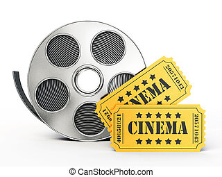 3d object - film ticket isolated on a white background
