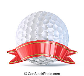 golf ball with ribbon isolated on a white background