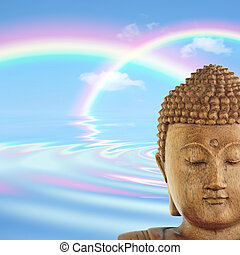 Rainbow Buddha Heaven - Fantasy abstract of the face of a...