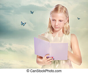 Little Blonde Girl Reading a Book with Butterflies