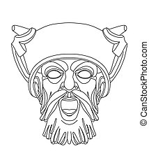 greek theatrical mask of a warrior - drawing of a male greek...