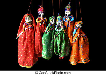 indian puppets - male and female puppets in indian costumes...