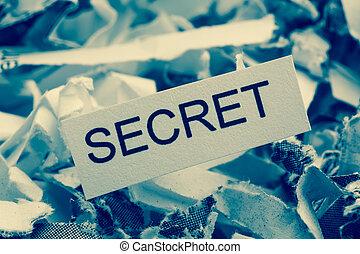 destrozado, papel, secreto