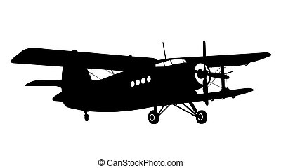 silhouette of a biplane - silhouette of an old biplane on...