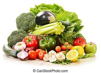 cru, legumes, branca, isolado, Composição