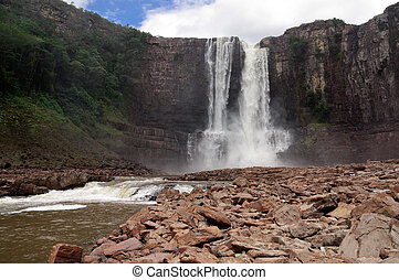 Waterfall Aponwao in Gran Sabana, Venezuela - Magnificent...