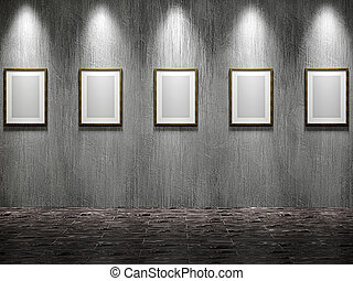 The old gallery with empty wooden frames