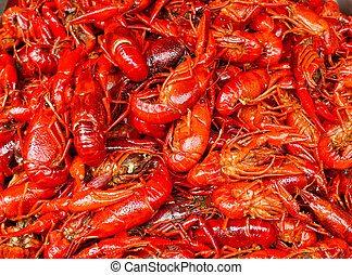 Red lobsters - Many red lobster for sale in a market in...
