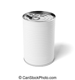 White tin can isolated on a white background