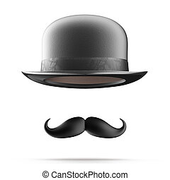 Bowler hat and mustaches - Vintage silhouette of bowler hat...