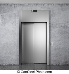 Modern elevator with closed doors - Front view of Modern...
