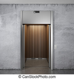 Elevator with opened doors - Front view of elevator with...