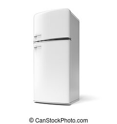 Retro refrigerator isolated on a white background
