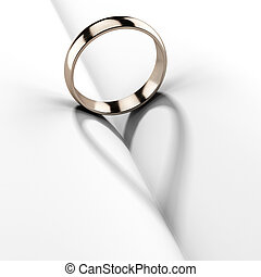 Wedding ring with shadow shape heart - Wedding ring in a...