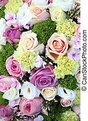 púrpura, rosa, blanco, boda, centro de mesa