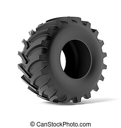 Tractor tire isolated on a white background