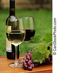 One glass of white wine and red wine and grapes with green...