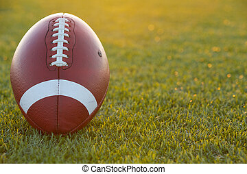 American Football at Sunset - American Football on the Field...