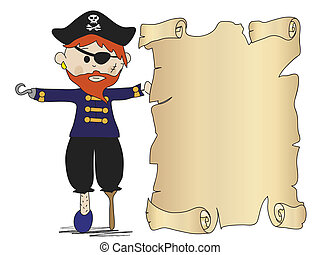 pirate - illustration of pirate with treasure map