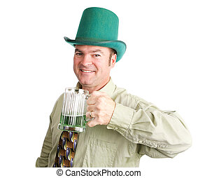 Ready For St Patricks Day - Irish man drinks green beer to...