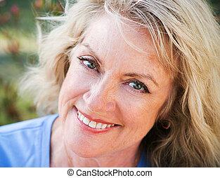Closeup Portrait - Mature Blond Beauty - Beautiful...