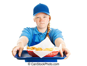 Fast Food Worker - Rude Attitude - Teen girl serving fast...