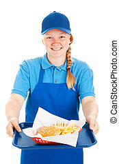Friendly Waitress Serves Fast Food - Friendly teenage fast...