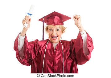 Senior Woman Excited to Graduate