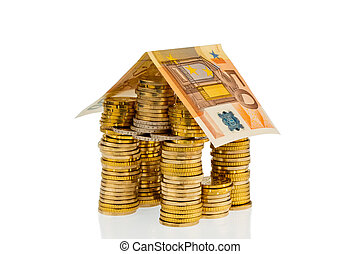house of euro coins money - a house made of coins and...