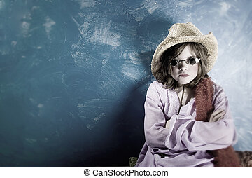 Mad Girl in a Hat and Glasses - Mad Young Girl Wearing a...