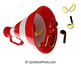3D Red Bullhorn - Red megaphone with music notes isolated 3d...