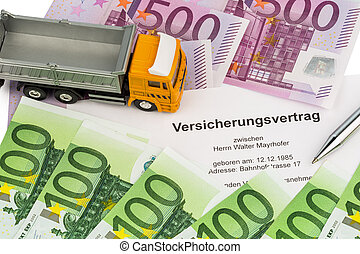 vertsicherungsvertrag for new trucks - an insurance contract...