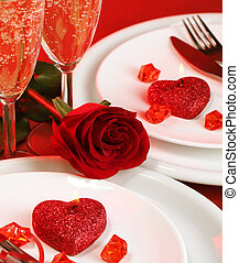 Valentine day table setting - Image of luxury table setting,...