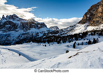 Snowy Mountains on the Skiing Resort of Colfosco, Alta...