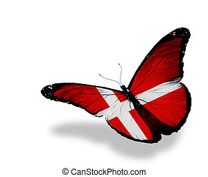 Danish flag butterfly flying, isolated on white background