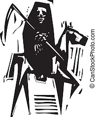 Death and Horse - Woodcut expressionist style image of Death...