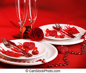 Romantic dinner - Photo of romantic dinner table setting,...
