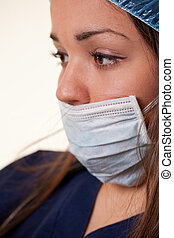 Young expressive russian caucasian woman healthcare worker