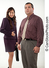 Attractive multi ethnic business man and woman team