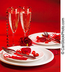 Romantic dinner - Image of romantic dinner, white festive...