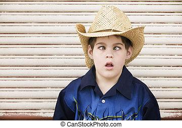 Cross-Eyed Boy in a Cowboy Hat
