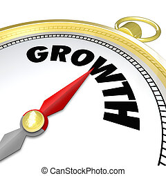 Growth Word Gold Compass Arrow Pointing to Word - The word...