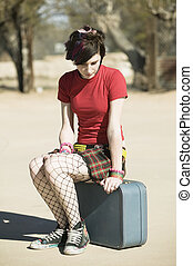 Punk Girl Sitting on Suitcase - Punk Girl Sitting on a...
