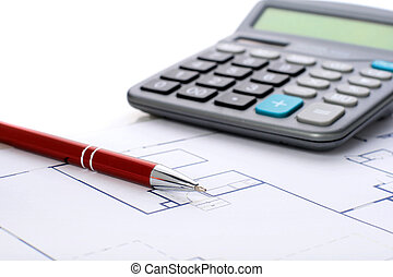 House plan - House plan, calculator and red pen over white